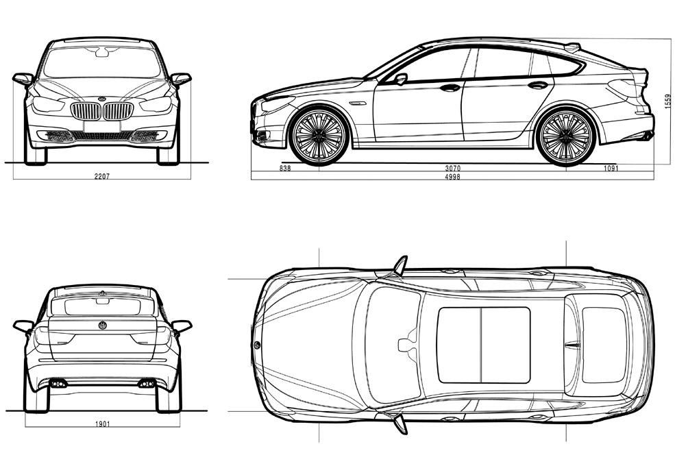 Bmw 535i gt auto sprint for Medidas de un carro arquitectura
