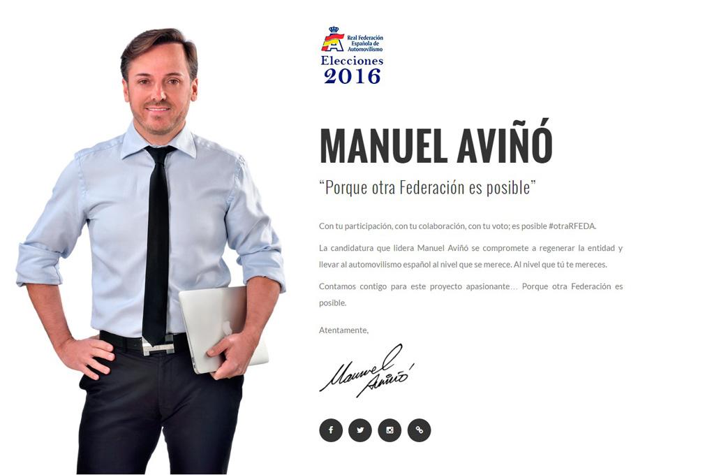 Manuel Aviño en su cartel de campaña