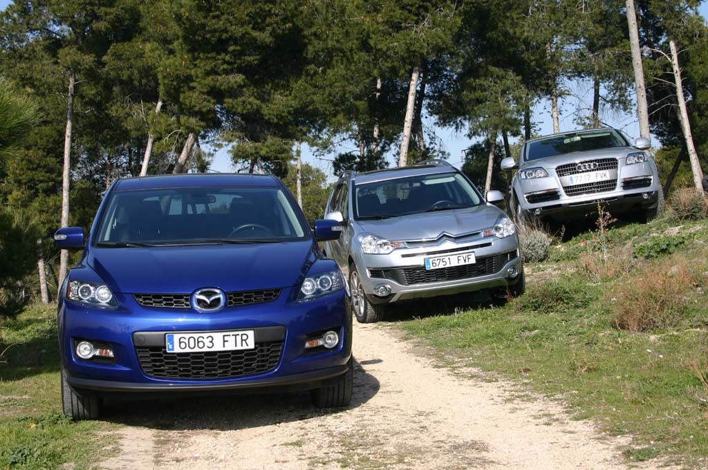 comparativa todocaminos Mazda CX7, Audi Q7 y C-Crosser