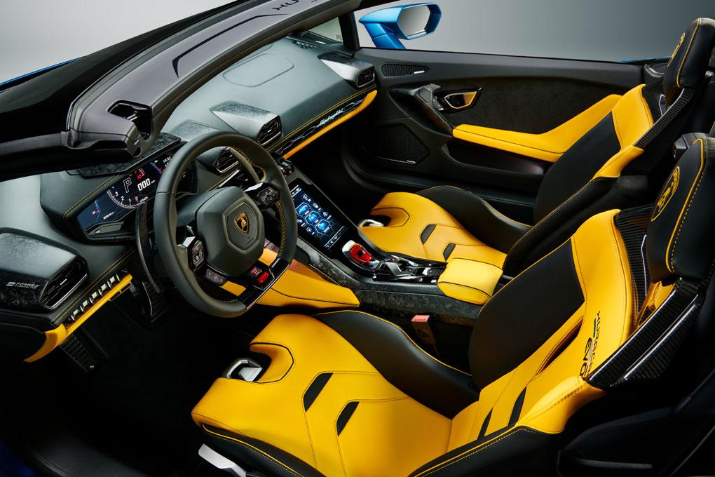 Interior del Lamborghini Huracán EVO Spyder